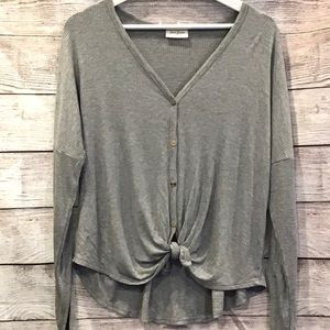 Free Kisses ribbed grey button down top